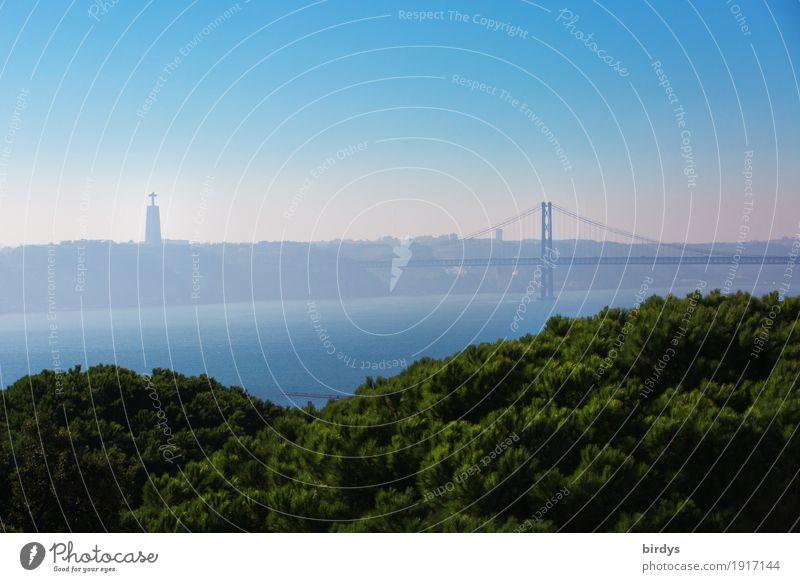 Lissabon, Cristo rei, Brücke des 25.April Ferien & Urlaub & Reisen blau grün Ferne Wald Religion & Glaube Tourismus Horizont ästhetisch Kultur hoch Fluss