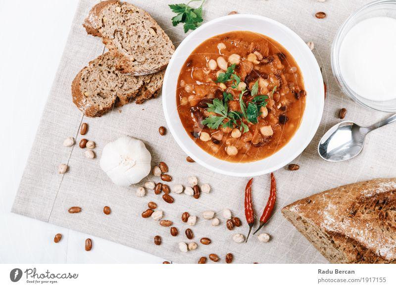 Chili-Bohnen-Eintopf bereit, bedient zu werden Farbe grün weiß rot Speise Essen Gesundheit Lebensmittel braun oben Ernährung frisch retro einfach rund