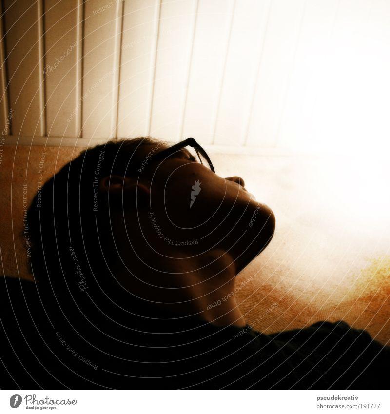 Phil - Licht ins Dunkel Mensch maskulin Mann Erwachsene Kopf Gesicht 1 18-30 Jahre Jugendliche Brille einzigartig gelb schwarz weiß Hoffnung Glaube träumen