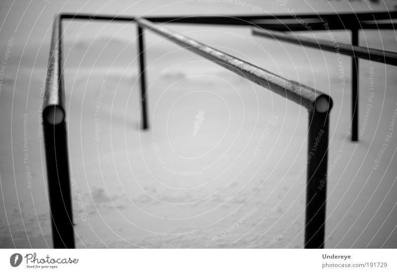 Meer Winter schwarz kalt Schnee grau Park Linie Coolness Geometrie