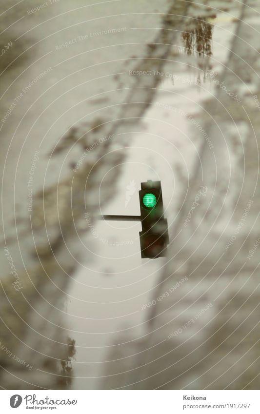 Green streetlight reflextion Umwelt Wasser Herbst Winter Unwetter Sturm Gewitter Eis Frost Schnee Schneefall Stadt Verkehr Straßenverkehr Autofahren