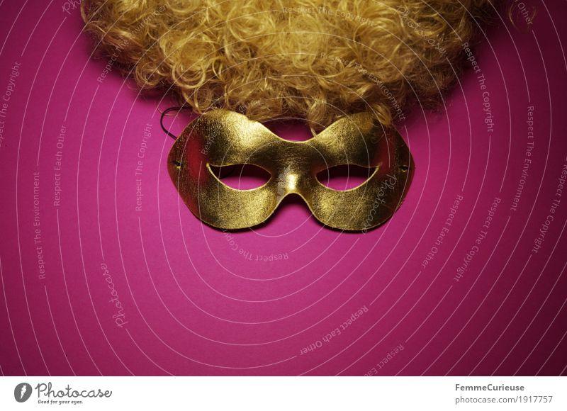Maske (02) Auge Freizeit & Hobby Freude verkleiden gold Maskenball rosa Locken Haare & Frisuren blond Perücke verstecken verdeckt Rollenspiel Karneval Phantom