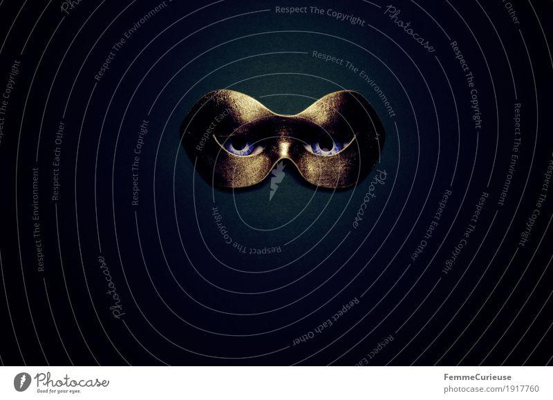 Im Visier (01) Auge Angst Maske verkleiden verstecken blau geheimnisvoll Geheimnisträger Karneval anonym spionieren verdeckt Agent gold dunkelgrün erleuchten