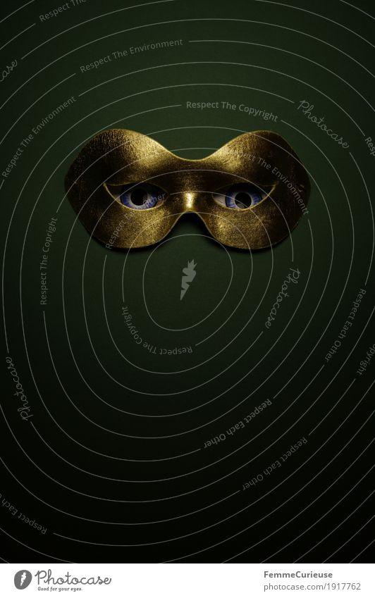 Im Visier (06) Auge Angst verstecken Karneval verkleiden Maske Maskenball Gold dunkelgrün Phantom beobachten Blick spannen verdeckt anonym geheimnisvoll