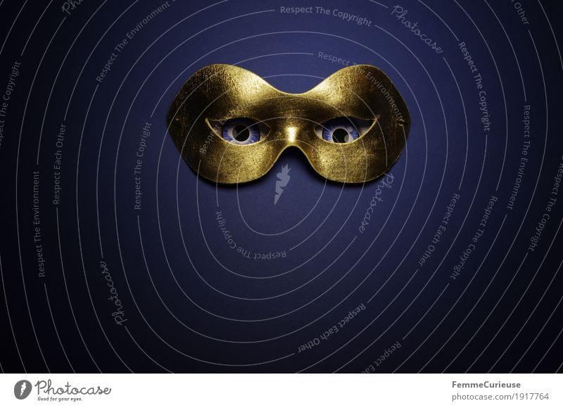 Im Visier (10) Auge Angst Maske Maskenball Karneval verstecken verdeckt anonym verkleiden gold blau Blick beobachten Phantom dunkel erleuchten gruselig