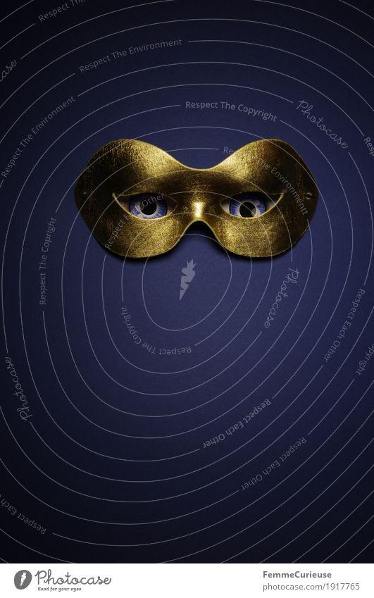 Im Visier (02) Auge Angst Maske verstecken anonym Agent geheimnisvoll Geheimnisträger gold blau Karneval verkleiden gruselig beängstigend Maskenball Ausdruck