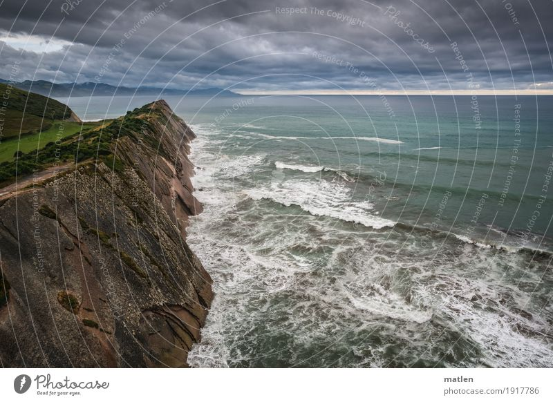 Zumaia Himmel Natur Pflanze grün weiß Landschaft Meer Wolken Strand dunkel Berge u. Gebirge Küste Gras grau braun Felsen