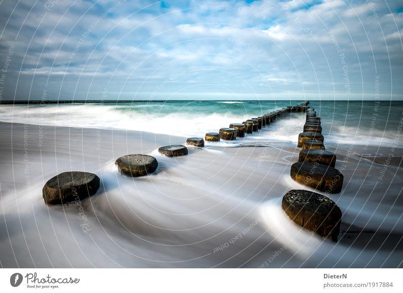 Doppelkopf Strand Meer Wellen Winter Landschaft Wasser Wolken Horizont Sturm Ostsee blau schwarz weiß Ahrenshoop Mecklenburg-Vorpommern Buhne Farbfoto