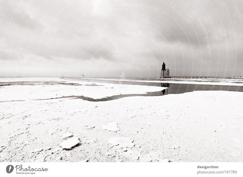 Weiße Weite Ferien & Urlaub & Reisen Ferne Himmel Winter Klima Wetter Eis Frost Schnee Küste Nordsee Meer Wattenmeer Wattwandern Turm Leuchtturm Schifffahrt