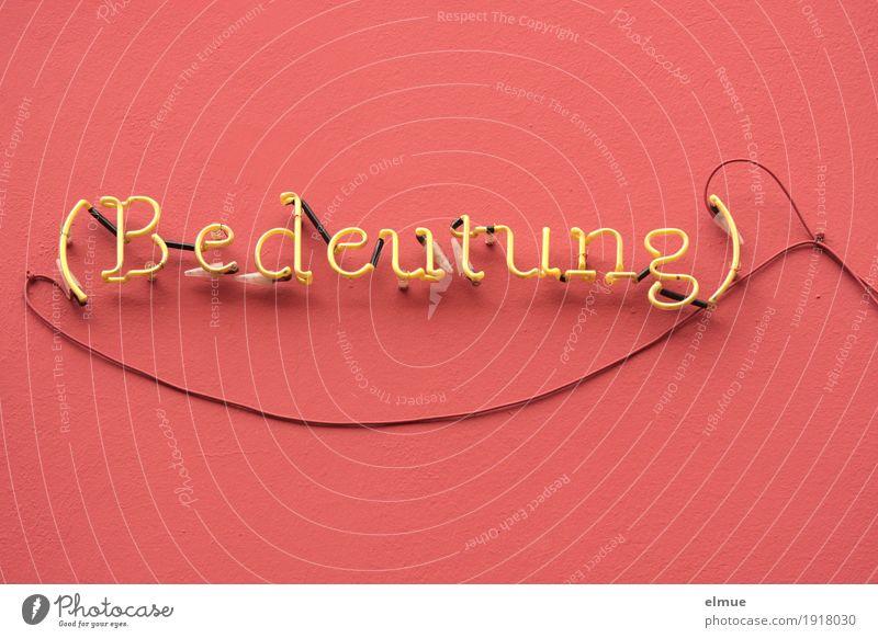 von Bedeutung Informationstechnologie Fußgängerzone Leuchtreklame Leuchtbuchstabe Leuchtspur Kabel Kabelsalat retro trashig gelb rosa Neugier Interesse Business