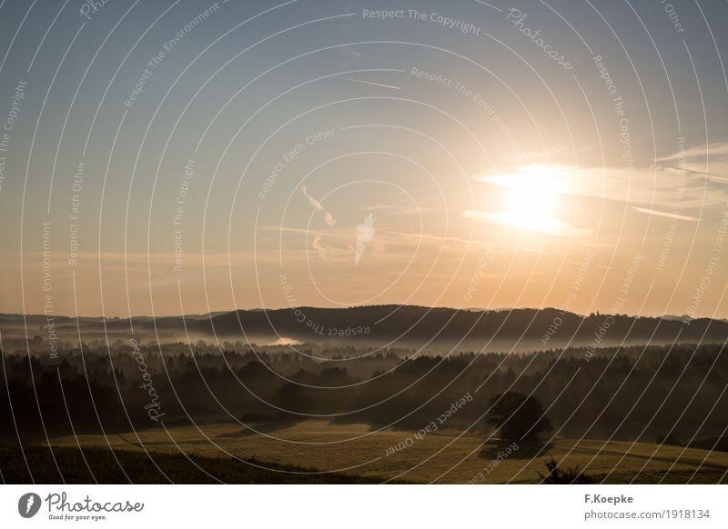 Sonnenaufgang Freizeit & Hobby Abenteuer Ferien & Urlaub & Reisen Tourismus Sommer Sommerurlaub Nebel Umwelt Natur Landschaft Luft Himmel Wolken Horizont