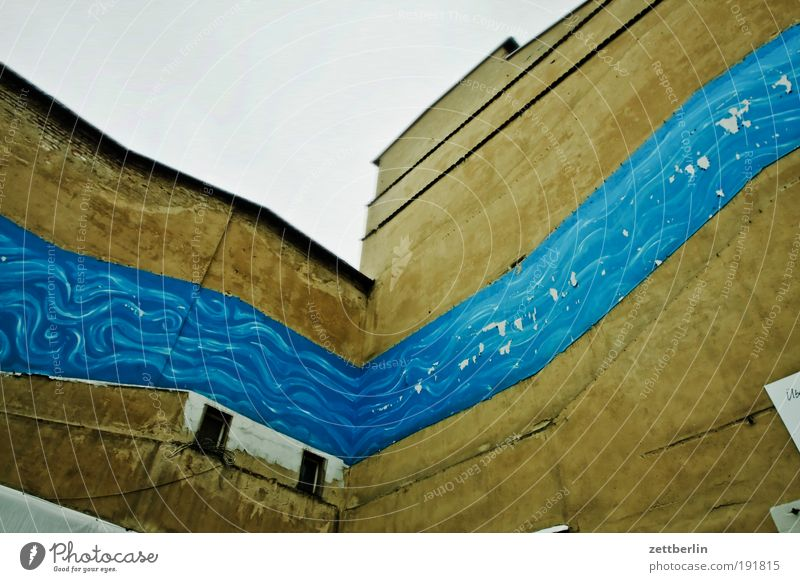 Fluss Haus Farbe Berlin Wand Mauer Fassade Gemälde fließen Europa Deutschland Wandmalereien Brandmauer