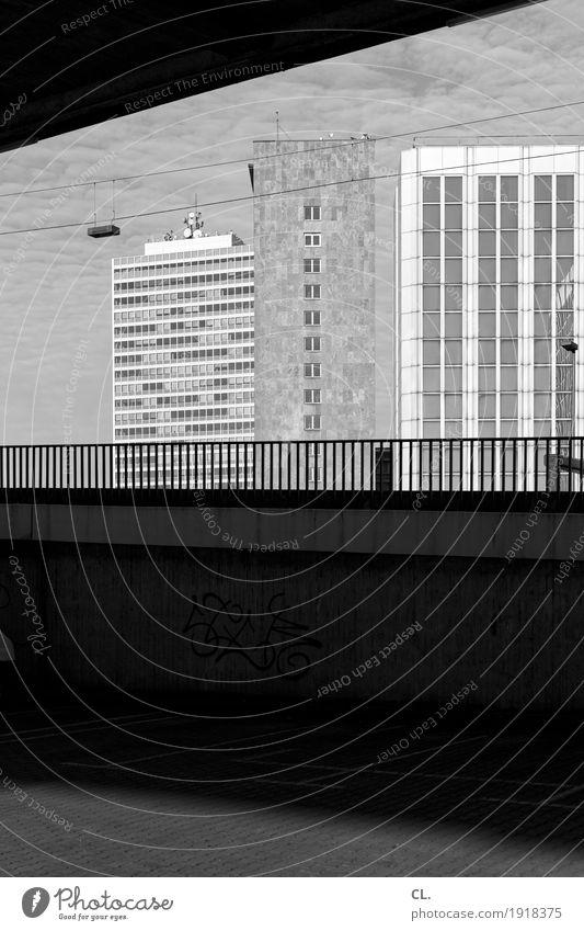 unter der rheinkniebrücke, düsseldorf Schönes Wetter Düsseldorf Stadt Hochhaus Platz Brücke Bauwerk Gebäude Architektur Mauer Wand Treppe Brückengeländer