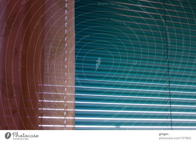 Nicht aus dem Fenster schauen... blau rosa Streifen Schnur Vorhang gerade Jalousie Lamelle blau-grün
