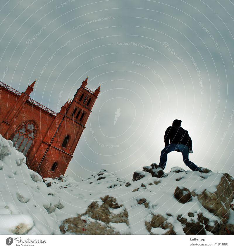 die bergpredigt Mensch Mann Ferien & Urlaub & Reisen Winter Erwachsene Leben Schnee Berlin Berge u. Gebirge Religion & Glaube wandern maskulin Kirche Gipfel Sehenswürdigkeit aufsteigen
