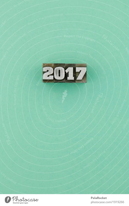 #AS# 2017 Kunst Kreativität Ziffern & Zahlen Buchstaben blau türkis Silvester u. Neujahr Jahr Symbole & Metaphern Mathematik Metall Blei drucken Druckerei