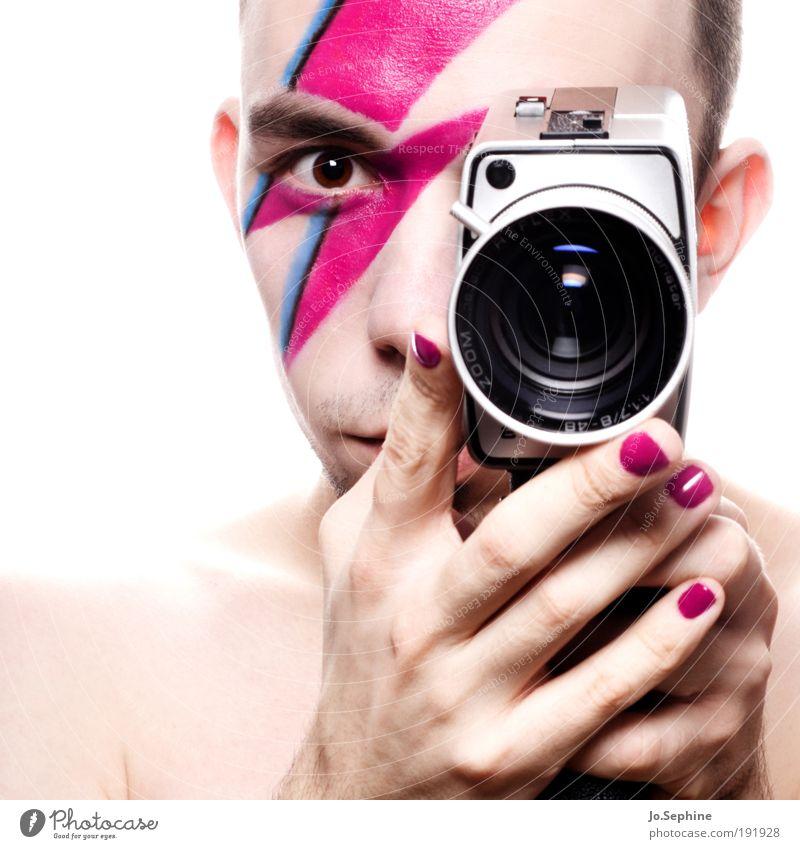 Analogsau! Mensch Jugendliche Erwachsene Junger Mann 18-30 Jahre Stil rosa maskulin Lifestyle Kosmetik Blitze analog Schminke Filmmaterial Videokamera Künstler