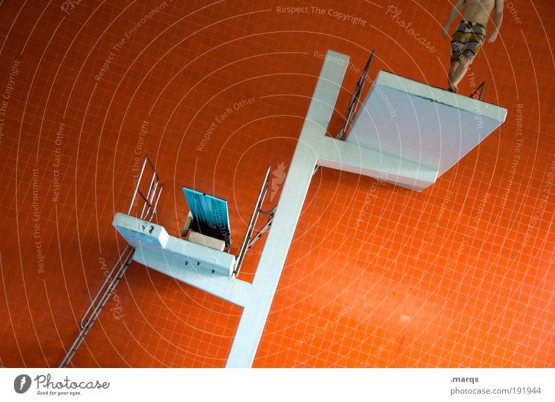 Vorbereitung Jugendliche Freude Farbe Sport Leben Wand Stil Mauer orange Architektur gehen maskulin hoch Ausflug Lifestyle