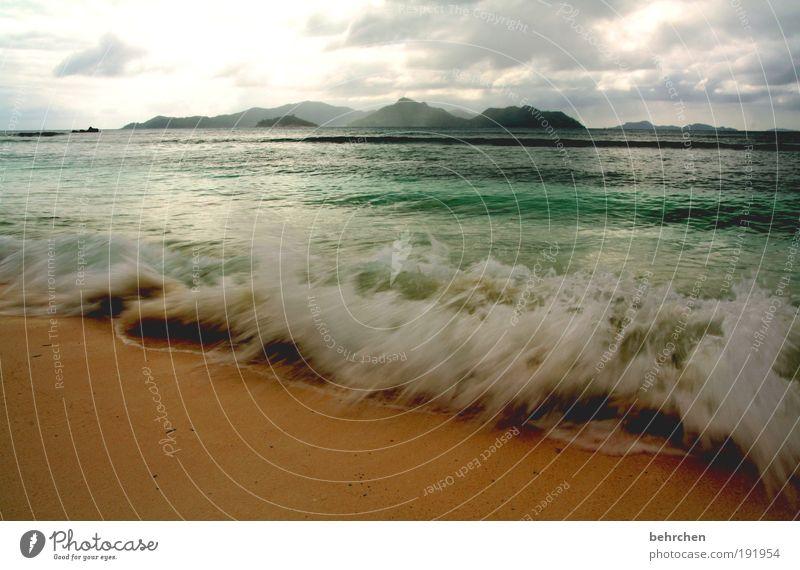 wassermusik Ferien & Urlaub & Reisen Tourismus Ferne Freiheit Natur Himmel Wolken Klimawandel Wind Wellen Strand Meer Indischer Ozean Insel Seychellen Praslin