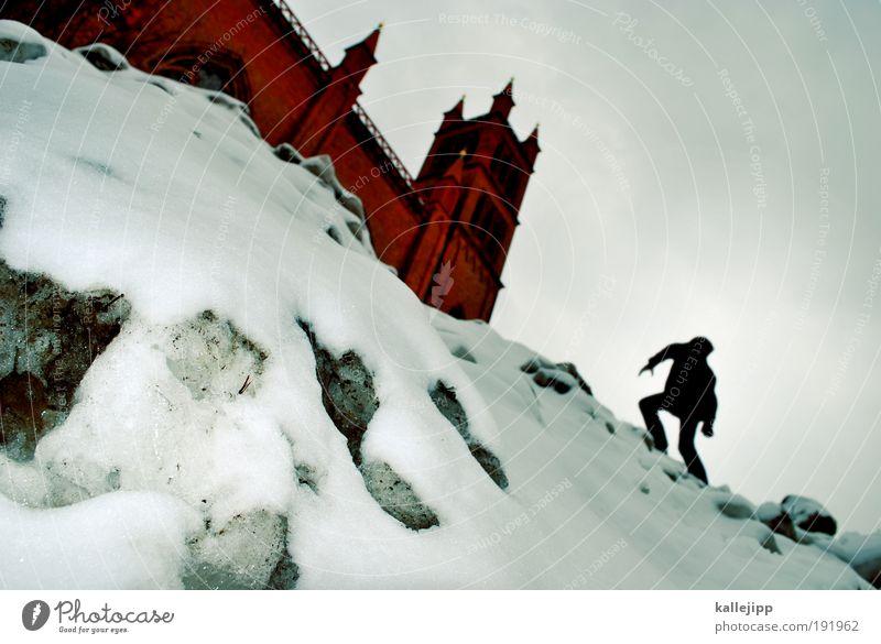eisheiliger Mensch Mann Winter ruhig Erwachsene Leben Schnee Architektur Religion & Glaube Gebäude Eis Kirche gefährlich Studium Frost bedrohlich