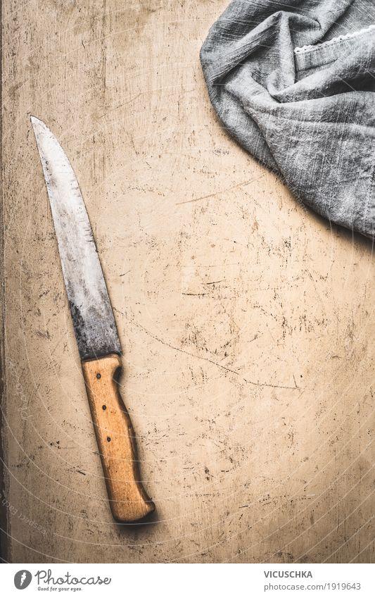 Essen oder Kochen Hintergrund mit Küchenmesser Hintergrundbild Stil Design Häusliches Leben Ernährung Tisch Restaurant Geschirr altehrwürdig Messer