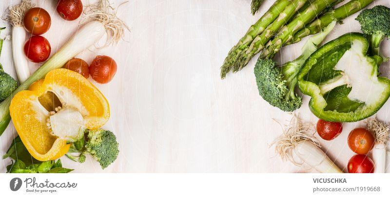 Verschiedenes Gemüse für leckeres Kochen mit Spargel Sommer Gesunde Ernährung Foodfotografie gelb Leben Hintergrundbild Gesundheit Stil Lebensmittel Design