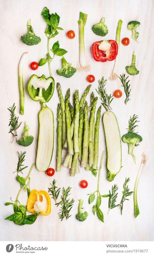 Verschiedenes grünes Gemüse Lebensmittel Kräuter & Gewürze Ernährung Bioprodukte Vegetarische Ernährung Diät Stil Design Gesundheit Gesunde Ernährung Spargel