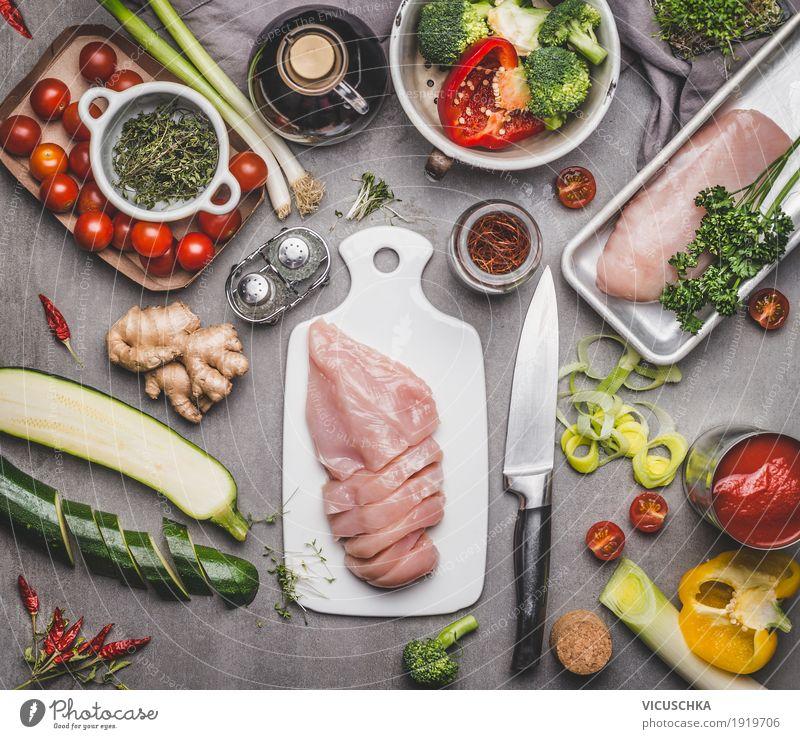 Gesundes Essen mit Hühnerbrust und Gemüse Lebensmittel Fleisch Kräuter & Gewürze Öl Ernährung Mittagessen Abendessen Büffet Brunch Bioprodukte Diät Geschirr