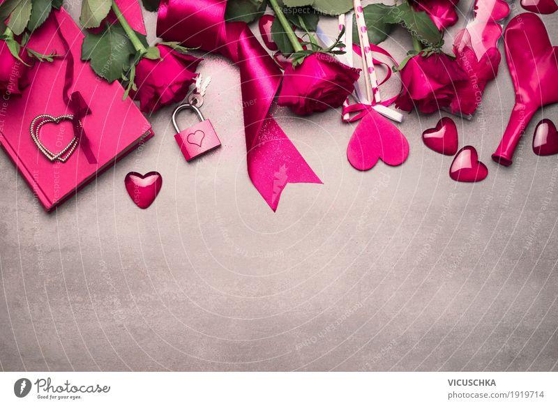 Valentinstag Hintergrund mit pink Rosen und Dekoration Blume Gefühle Liebe Hintergrundbild Stil Party Design rosa Dekoration & Verzierung elegant Herz Romantik