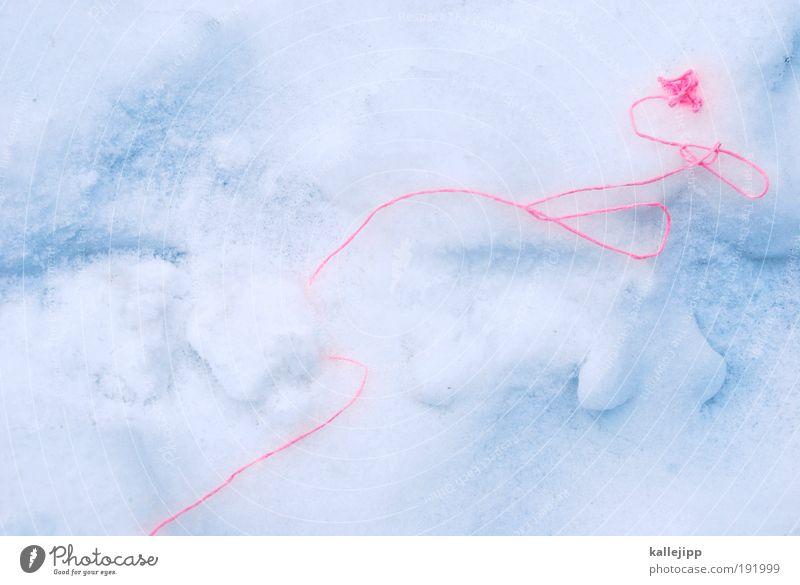 wenn der winter den faden verliert Winter Schnee Eis Frost Zeichen Schnur Knoten Schleife Netz entdecken ariadne Leitfaden finden Orientierung Wolle Farbfoto