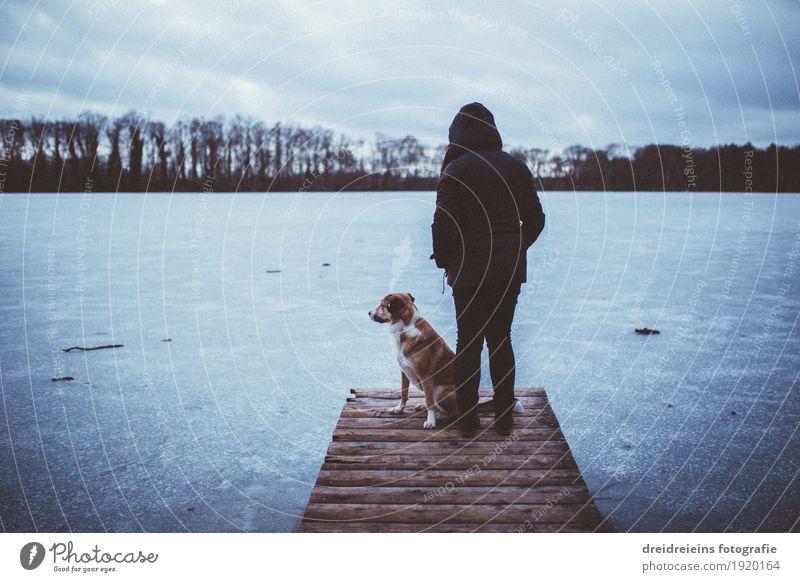 Winterimpressionen. Mensch Natur Landschaft Wasser Horizont Nebel Eis Frost Seeufer Tier Hund Blick stehen warten Zusammensein kalt Geborgenheit Einigkeit loyal