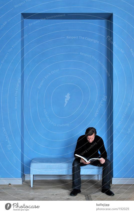 blaupause Mann blau Haus Zufriedenheit Raum Buch Erwachsene Wohnung maskulin elegant Lifestyle Studium lernen lesen Stuhl Freizeit & Hobby