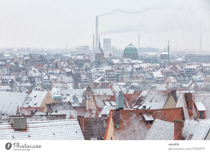 View of the German city Nuremberg above the rooftops with snow Sightseeing Winter Tower (Luftfahrt) ruhig Tourismus aerial architecture bavaria Bayern building