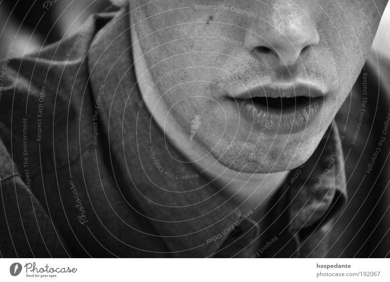 Business Junkie Mann Jugendliche weiß schön Gesicht schwarz kalt sprechen Erwachsene Stil Denken Mund Haut Design maskulin Erfolg