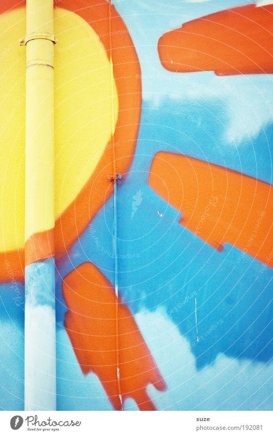 Sonnenklar Stil Design Freude Gebäude Mauer Wand Fassade Zeichen Graffiti authentisch Fröhlichkeit schön blau gelb orange Regenrinne Eisenrohr Fallrohr