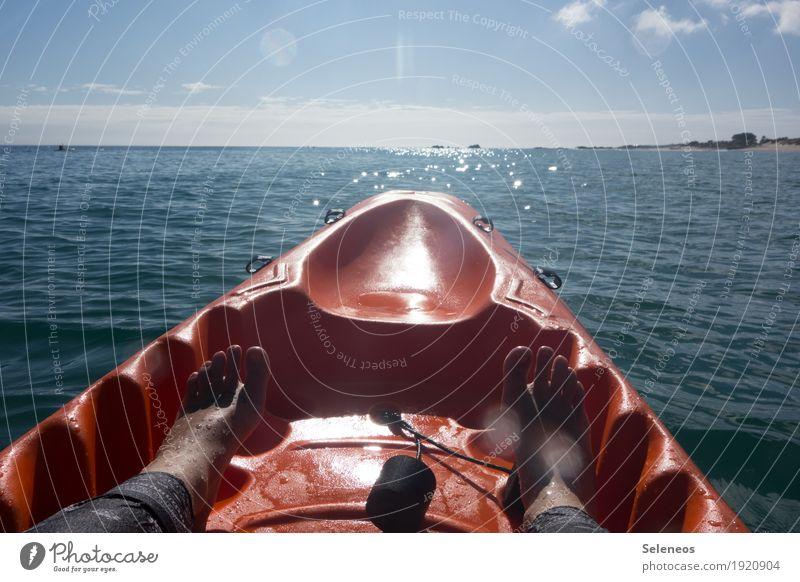 auf Urlaubskurs Himmel Natur Ferien & Urlaub & Reisen Sommer Wasser Meer Ferne Strand Umwelt natürlich Freiheit Fuß Tourismus Horizont Freizeit & Hobby frei