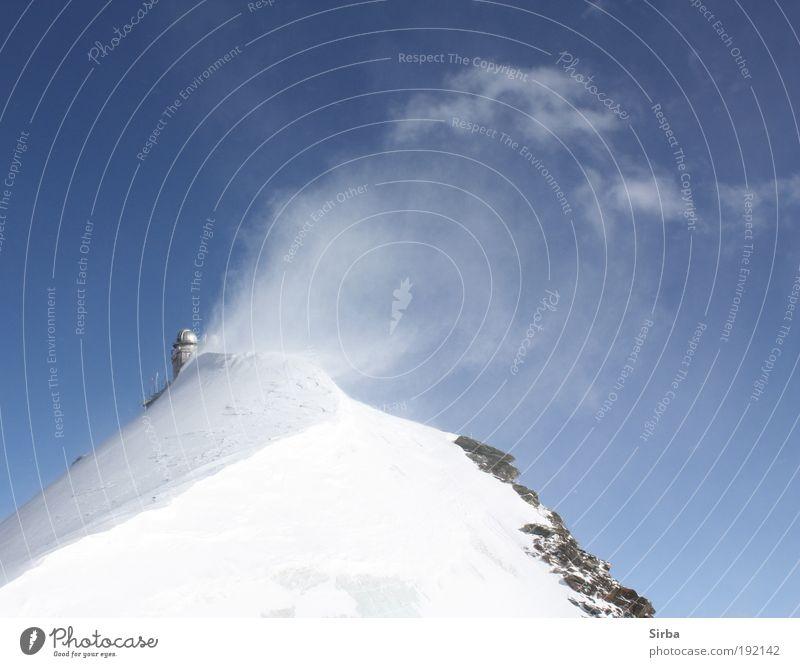 Schneegebläse weiß blau Winter Ferien & Urlaub & Reisen Berge u. Gebirge glänzend Umwelt groß Alpen Gipfel leuchten frieren Schönes Wetter Aktion