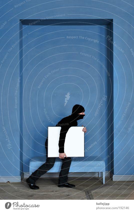 raubkopie Mensch Mann blau Erwachsene Kunst Ecke bedrohlich Bild Gemälde Suche Museum Rahmen Gesetze und Verordnungen Dieb Ausstellung Kriminalität