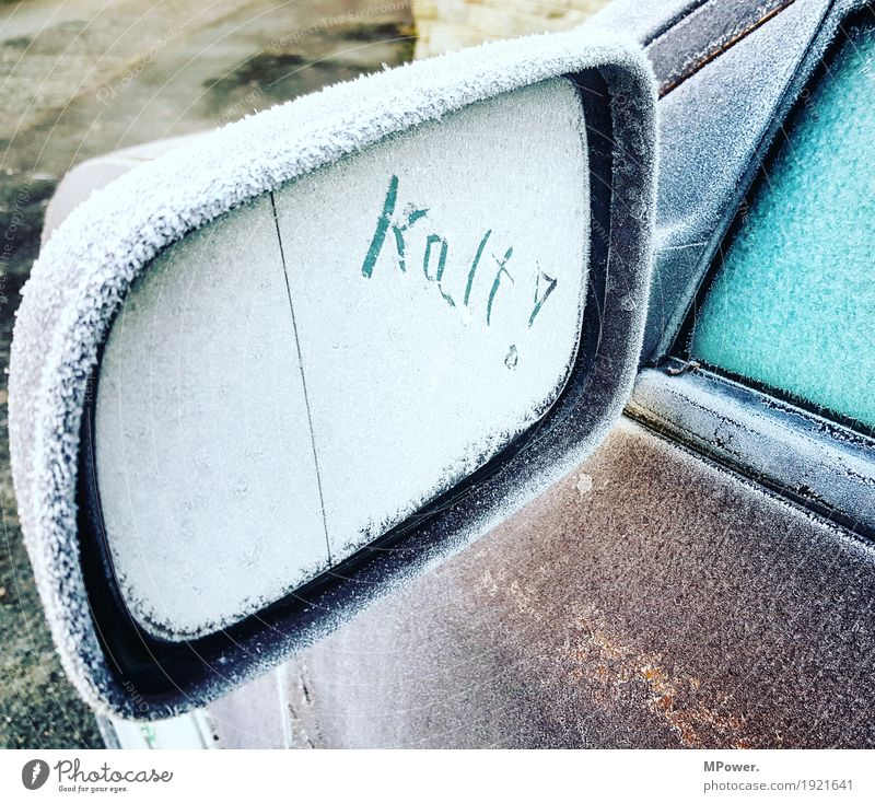 kalt Winter Verkehr PKW Eis Frost Stress Rückspiegel