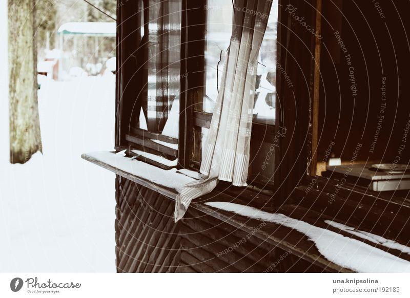 verlassen Haus Winter Schnee Hütte Ruine Fenster kaputt Einsamkeit Zerstörung Fensterscheibe gebrochen Farbfoto Außenaufnahme Menschenleer Textfreiraum unten