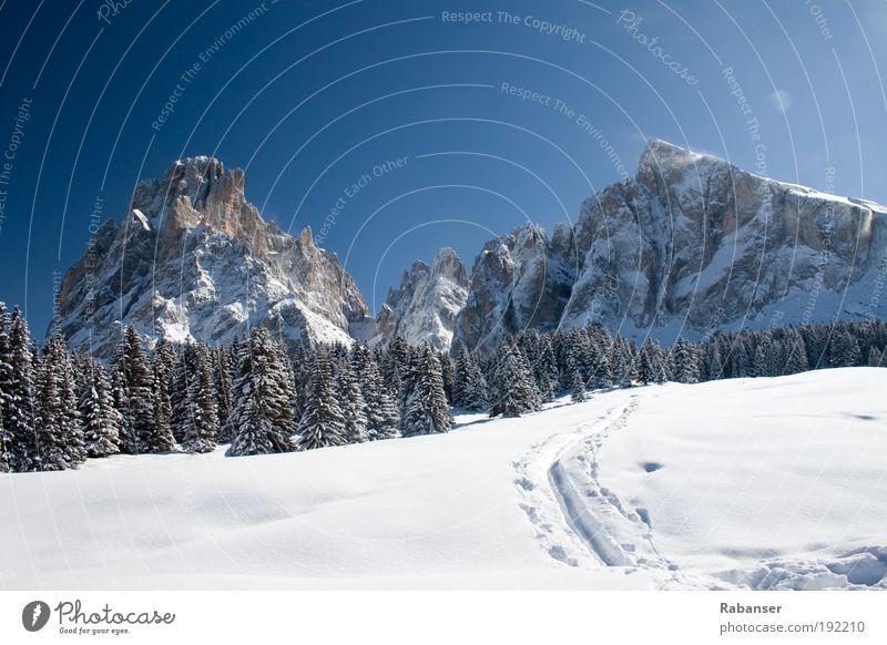 Langkofel im Winter Natur weiß blau Ferien & Urlaub & Reisen schwarz Ferne Schnee Freiheit Berge u. Gebirge Landschaft Wetter Eis Ausflug wandern groß