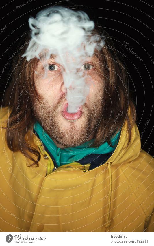nebelmaschine Mensch maskulin Coolness authentisch Rauchen Rauch Bart trashig Zigarette atmen langhaarig Verbote Sucht Klischee ungesund