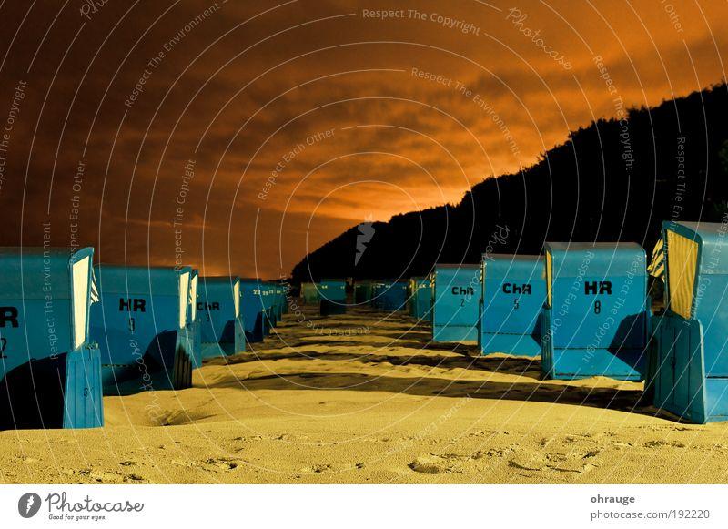 Der Strand Sommer Ferien & Urlaub & Reisen Wolken Ferne Freiheit Sand Küste Horizont Freizeit & Hobby Pause Fußspur Ostsee Strandkorb Sommerurlaub Möbel