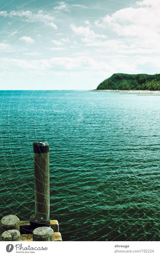 Die Insel Wasser Ferien & Urlaub & Reisen Sommer Meer Strand Wolken Ferne Umwelt Berge u. Gebirge Freiheit Küste träumen Horizont Wellen Freizeit & Hobby Tourismus