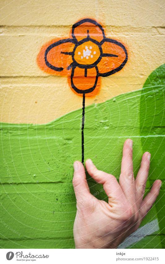 Blumenpflücken Mensch grün Hand Freude gelb Wand Graffiti Gefühle Liebe Lifestyle Spielen Mauer außergewöhnlich Fassade orange