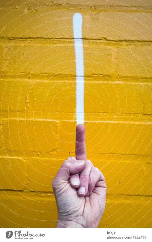 just my two cents Lifestyle Leben Hand Finger Mittelfinger 1 Mensch Mauer Wand Fassade Zeichen Graffiti Linie Streifen Aggression Wut gelb Hochmut uneinig