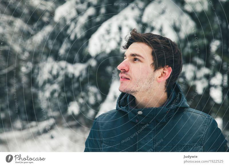 Die Stille hören Mensch Natur Jugendliche Baum Junger Mann Einsamkeit ruhig Winter Wald 18-30 Jahre Erwachsene Umwelt kalt maskulin Ausflug wandern