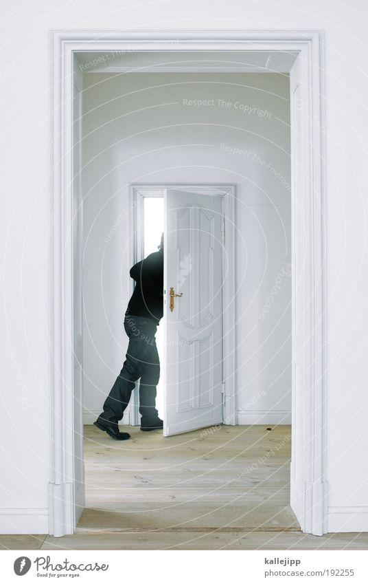 wir kaufen nix! Mensch Mann weiß Haus Erwachsene Leben Innenarchitektur Tür gehen Wohnung maskulin Zukunft Häusliches Leben Lifestyle Warmherzigkeit Schutz