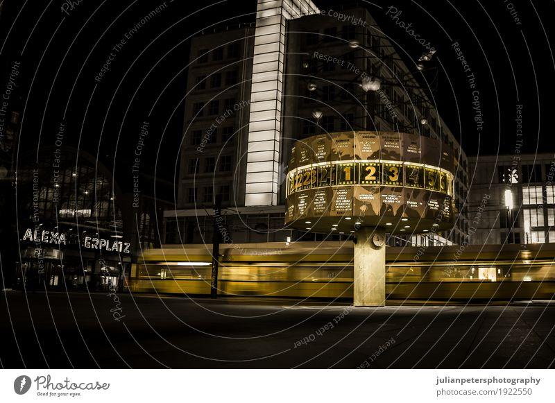 S-Bahn-Zug über Alexanderplatz bei Nacht - Berlin, Deutschland Ferien & Urlaub & Reisen Tourismus Uhr Kultur Erde Himmel Platz Gebäude Architektur Eisenbahn