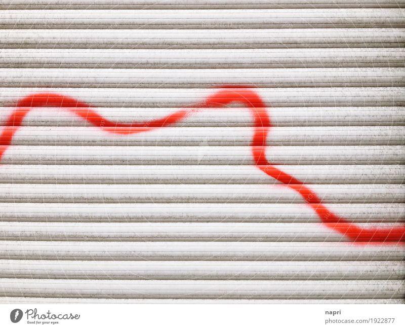 Lebenslinie Fenster Kunststoff grau rot rebellieren Stimmung Konflikt & Streit Stress Termin & Datum Wege & Pfade Wut Zerstörung Linie liniert Kurve Rollladen